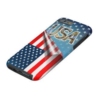 Coque iPhone 6 Tough Drapeau américain embobiné avec des étoiles