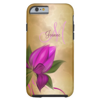 Coque iPhone 6 Tough Marbre floral de rose d'or