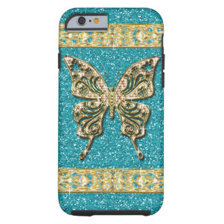 Coque iPhone 6 Tough Papillon d'or de parties scintillantes bleues
