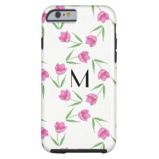 Coque iPhone 6 Tough Tulipes roses d'aquarelle encadrant l'initiale