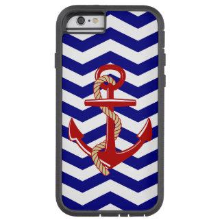 Coque iPhone 6 Tough Xtreme Rayures nautiques de Chevron d'ancre rouge
