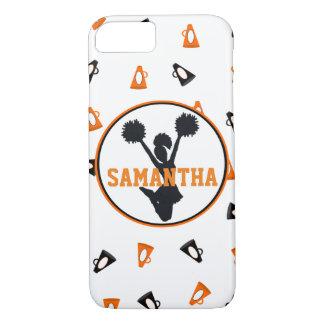 Coque iPhone 7 Acclamation orange et noire de mégaphones