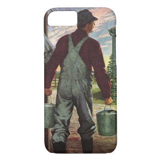 Coque iPhone 7 Affaires vintages, ferme avec l'agriculteur et