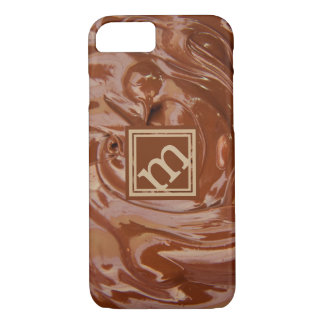 Coque iPhone 7 Amant de chocolat, monogramme à angles