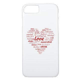 Coque iPhone 7 Amour et coeur dans toute la langue de monde