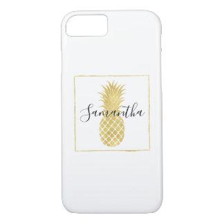 Coque iPhone 7 Ananas étincelant d'or