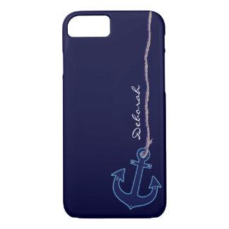 Coque iPhone 7 ancre bleue de marin personnalisée