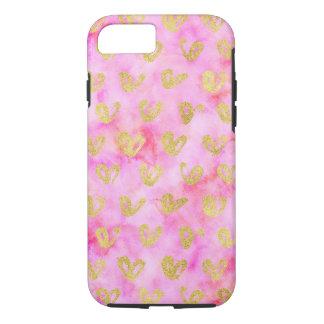 Coque iPhone 7 Aquarelle rose Girly de coeurs fascinants d'or