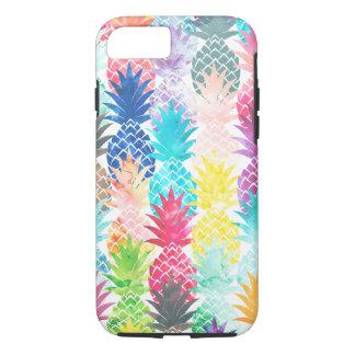 Coque iPhone 7 Aquarelle tropicale de motif hawaïen d'ananas