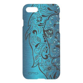 Coque iPhone 7 Arrière - plan bleu métallique de lion de crâne