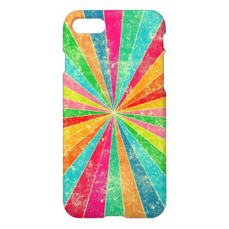 Coque iPhone 7 art coloré vintage d'arc-en-ciel