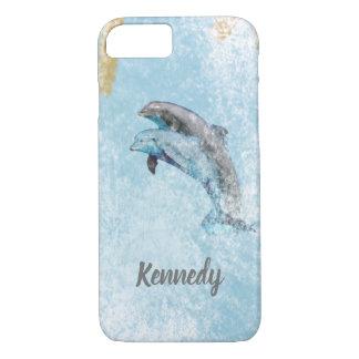 Coque iPhone 7 Art côtier sautant de thème de dauphins