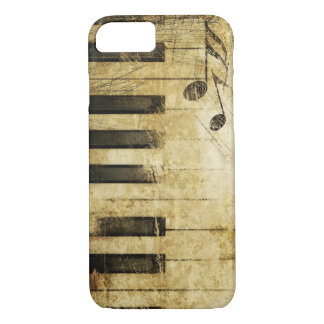 Coque iPhone 7 art vintage brun de clavier de piano de musique