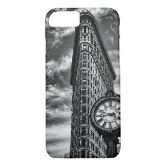 Coque iPhone 7 Bâtiment et horloge de Flatiron dans 1C2 noir et