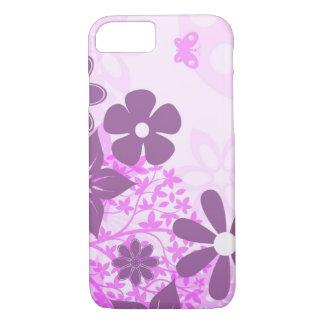 Coque iPhone 7 bel art rose de vecteur de fleurs