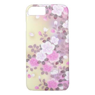 Coque iPhone 7 bel art rose de vecteur de fleurs blanches