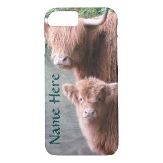Coque iPhone 7 Bétail, vache et veau des montagnes écossais