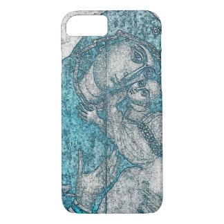 Coque iPhone 7 Bleu vintage de portrait d'ange de Jésus de bébé