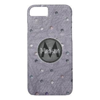 Coque iPhone 7 Bling sur le gris avec le cadre de tableau