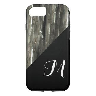 Coque iPhone 7 Blocs brillants en métal avec le monogramme noir