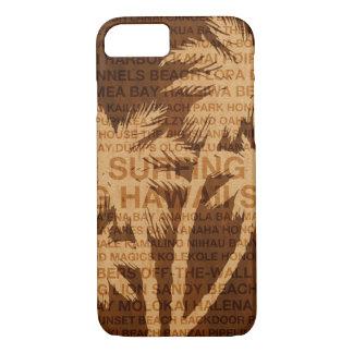Coque iPhone 7 Bois surfant de Faux de palmiers d'Hawaï tropical