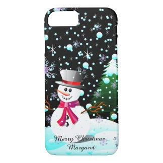 """Coque iPhone 7 Bonhomme de neige """"Joyeux Noël"""" personnalisé"""