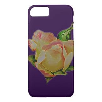 Coque iPhone 7 Bouton de rose géant frais de pêche sur le pourpre