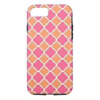 Coque iPhone 7 Caisse à motifs de losanges orange rose de