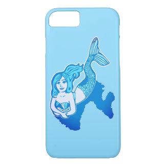 Coque iPhone 7 Caisse bleue Lounging de téléphone d'art de sirène