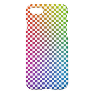 Coque iPhone 7 Caisse de damier d'arc-en-ciel