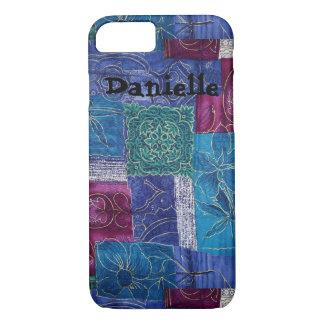 Coque iPhone 7 Caisse florale de cellules de couleurs d'or d'art