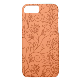 Coque iPhone 7 Caisse orange florale élégante de l'iPhone 7