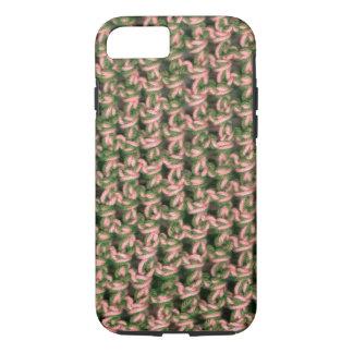 Coque iPhone 7 Camouflage vert français de dames de crochet rose