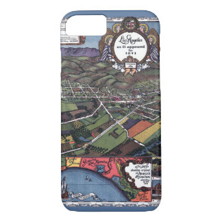 Coque iPhone 7 Carte antique, ville aérienne de Los Angeles la