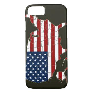 Coque iPhone 7 Carte des Etats-Unis avec le drapeau américain