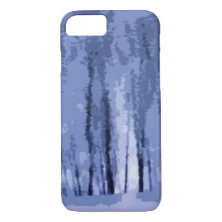 Coque iPhone 7 Cas abstrait de l'iPhone 7 en bois bleus d'hiver
