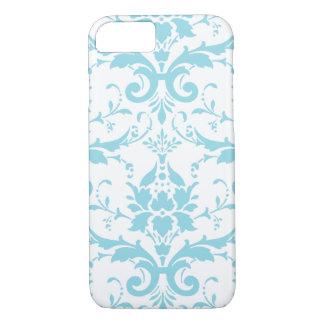 Coque iPhone 7 Cas bleu-clair de l'iPhone 7 de damassé