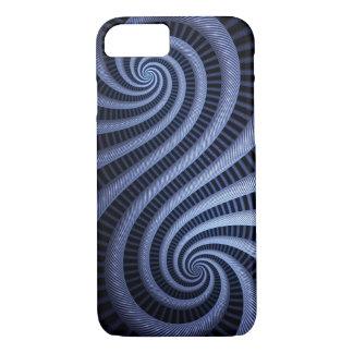 Coque iPhone 7 Cas bleu-foncé d'art de fractale