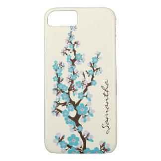 Coque iPhone 7 Cas de l'iPhone 7 de fleurs de cerisier (aqua)