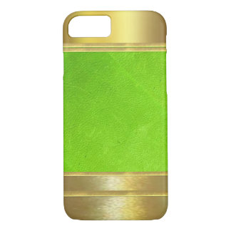 Coque iPhone 7 Cas de l'iPhone 7 de textures de cuir et d'or
