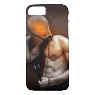 Coque iPhone 7 Cas de l'iPhone 7 d'idée d'homme d'ampoule