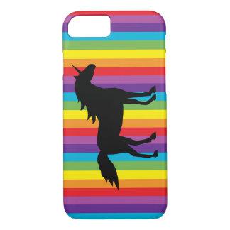 Coque iPhone 7 Cas de l'iPhone noir 7 de licorne et d'arc-en-ciel