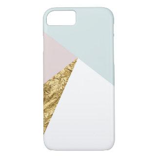 Coque iPhone 7 Cas géométrique de téléphone de feuille d'or