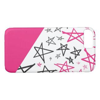 Coque iPhone 7 Cas tiré par la main rose de téléphone d'étoile