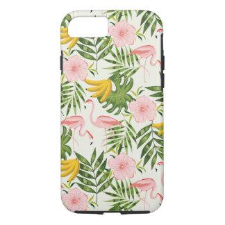 Coque iPhone 7 Cas tropical de l'iPhone 7 de flamant d'été