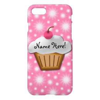 Coque iPhone 7 Cerise mignonne de rose de petit gâteau de