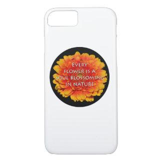 Coque iPhone 7 Citations de inspiration avec des fleurs
