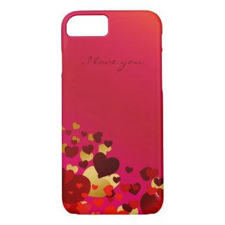 Coque iPhone 7 coeurs de jour de valentines avec la déclaration