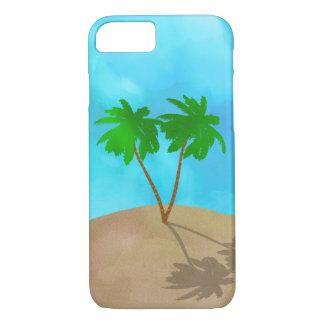 Coque iPhone 7 Collage de scène de plage de palmier d'aquarelle