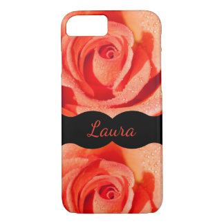Coque iPhone 7 Conception orange de luxe de roses